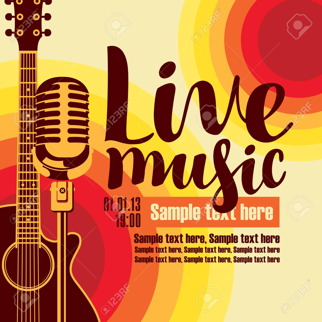 vector music poster for a concert live music with the image of a guitar and microphone on the colored background - 75349779