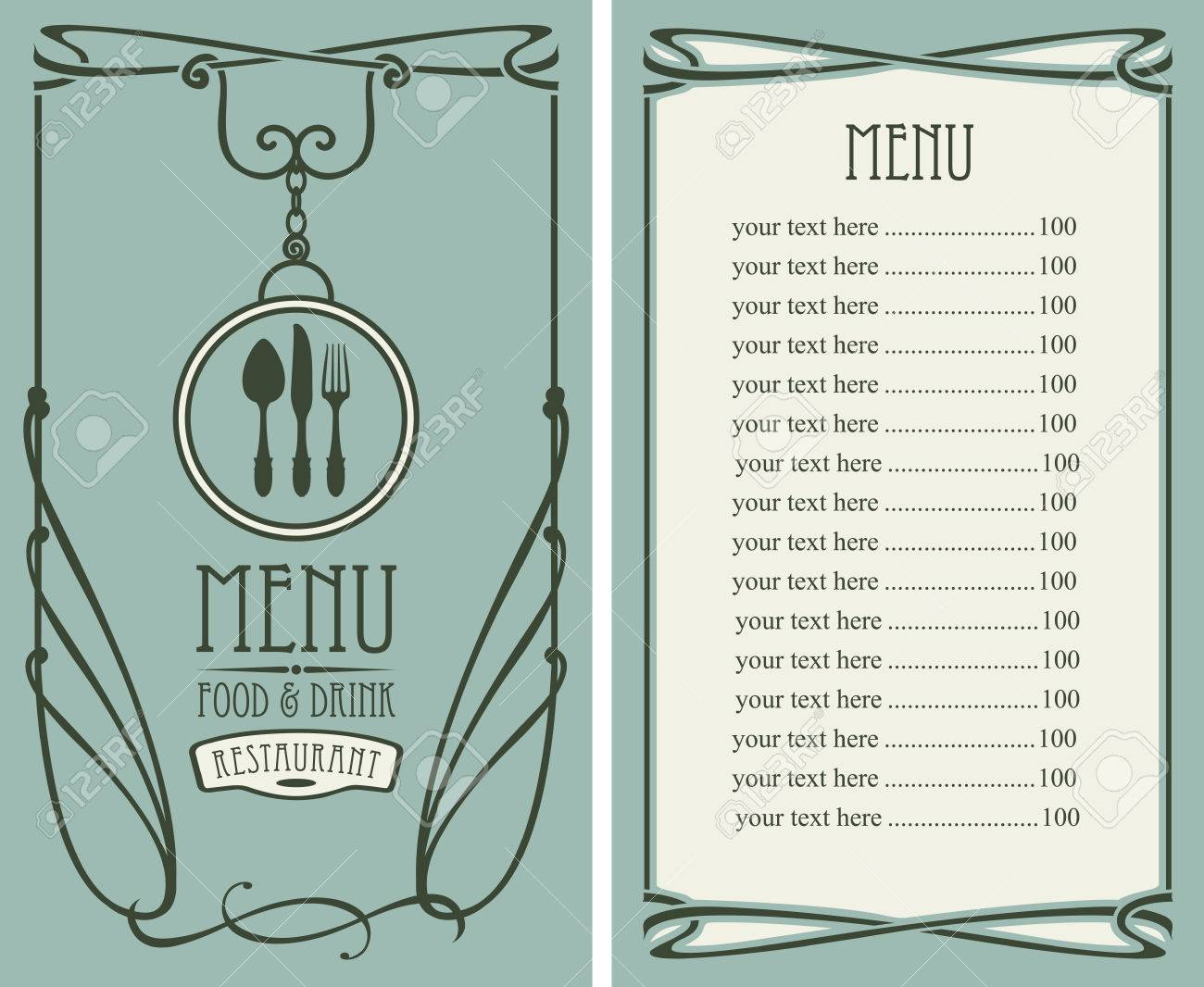 Template Vector Menu For Restaurant With Price List, Flatware ...