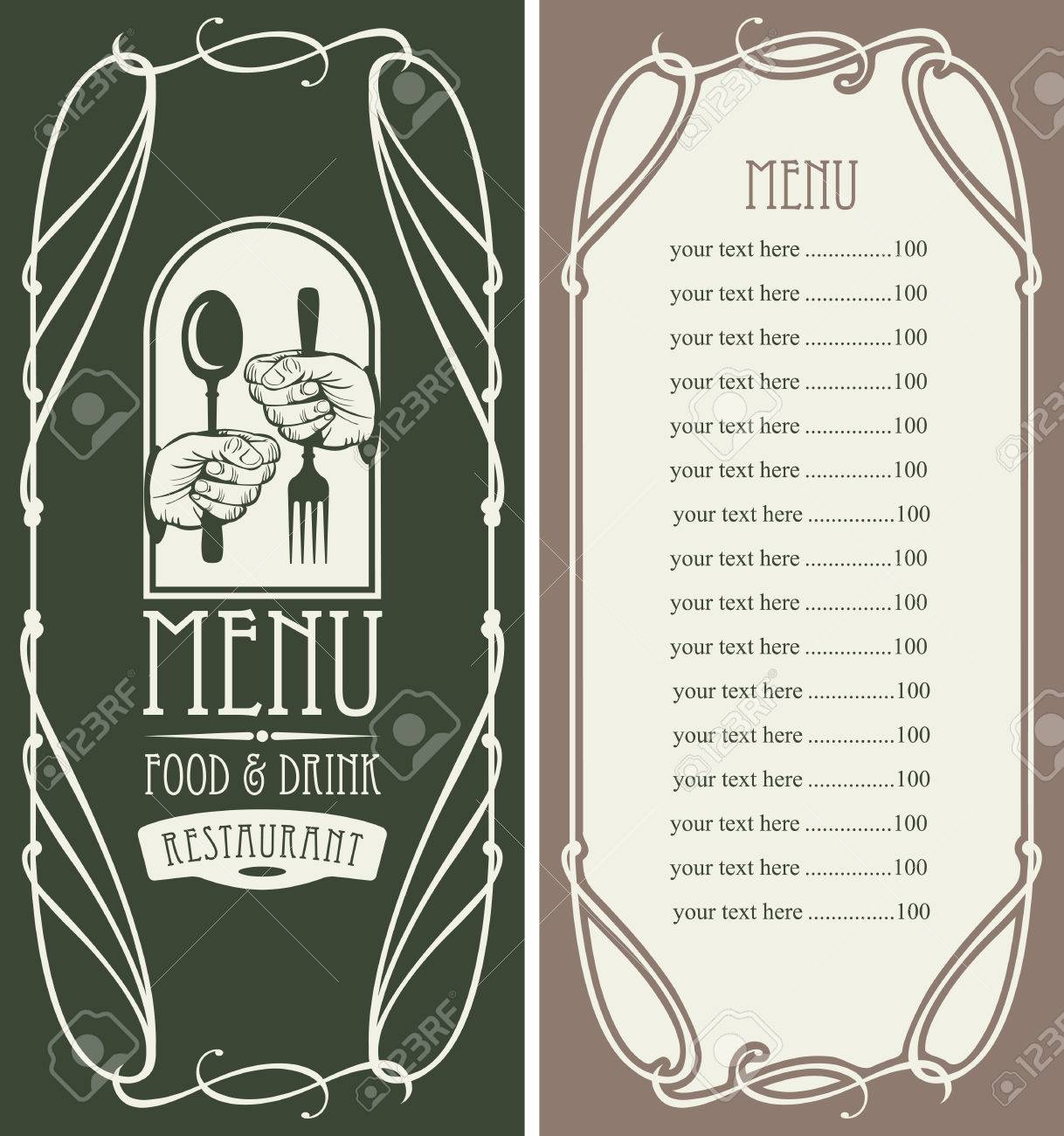 Template Vector Menu For Restaurant With Price List, Cutlery ...