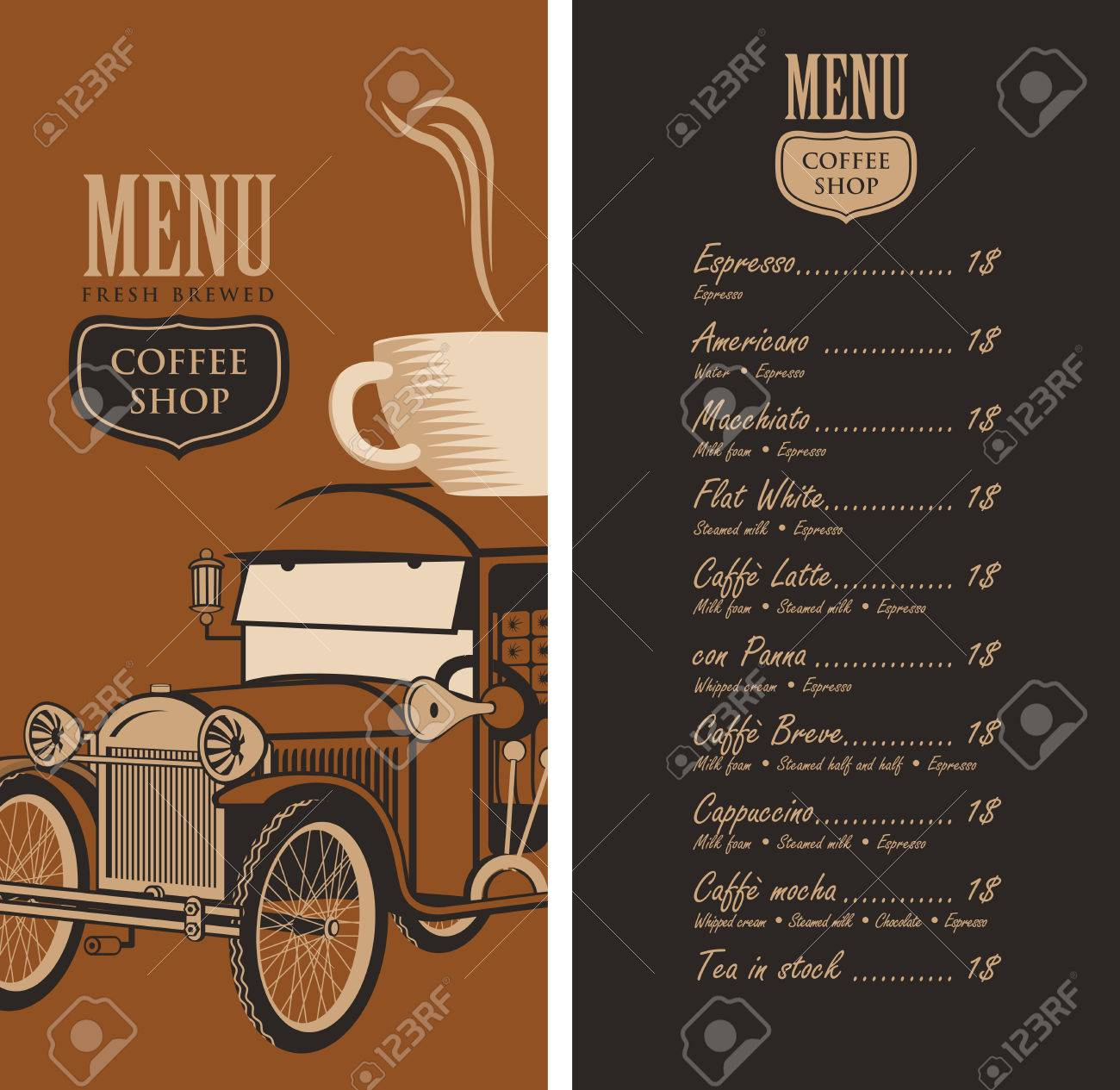Template Vector Menu For A Coffee Shop With Old Car, Cup Of Coffee ...