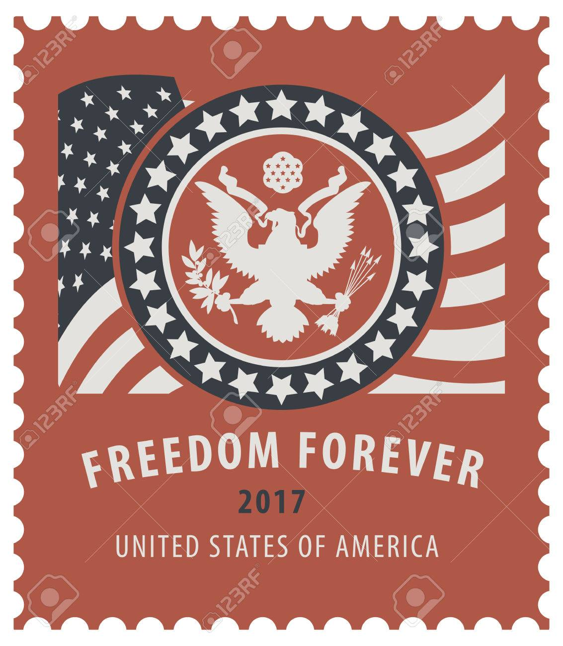 Vector USA Postage Stamp With The Eagle On Great Seal Of