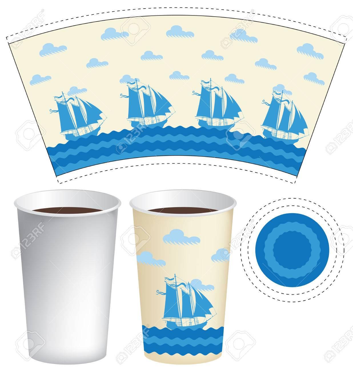 Vector Vorlage Papier Cup Für Heiße Getränke Mit Segelschiffe Im ...