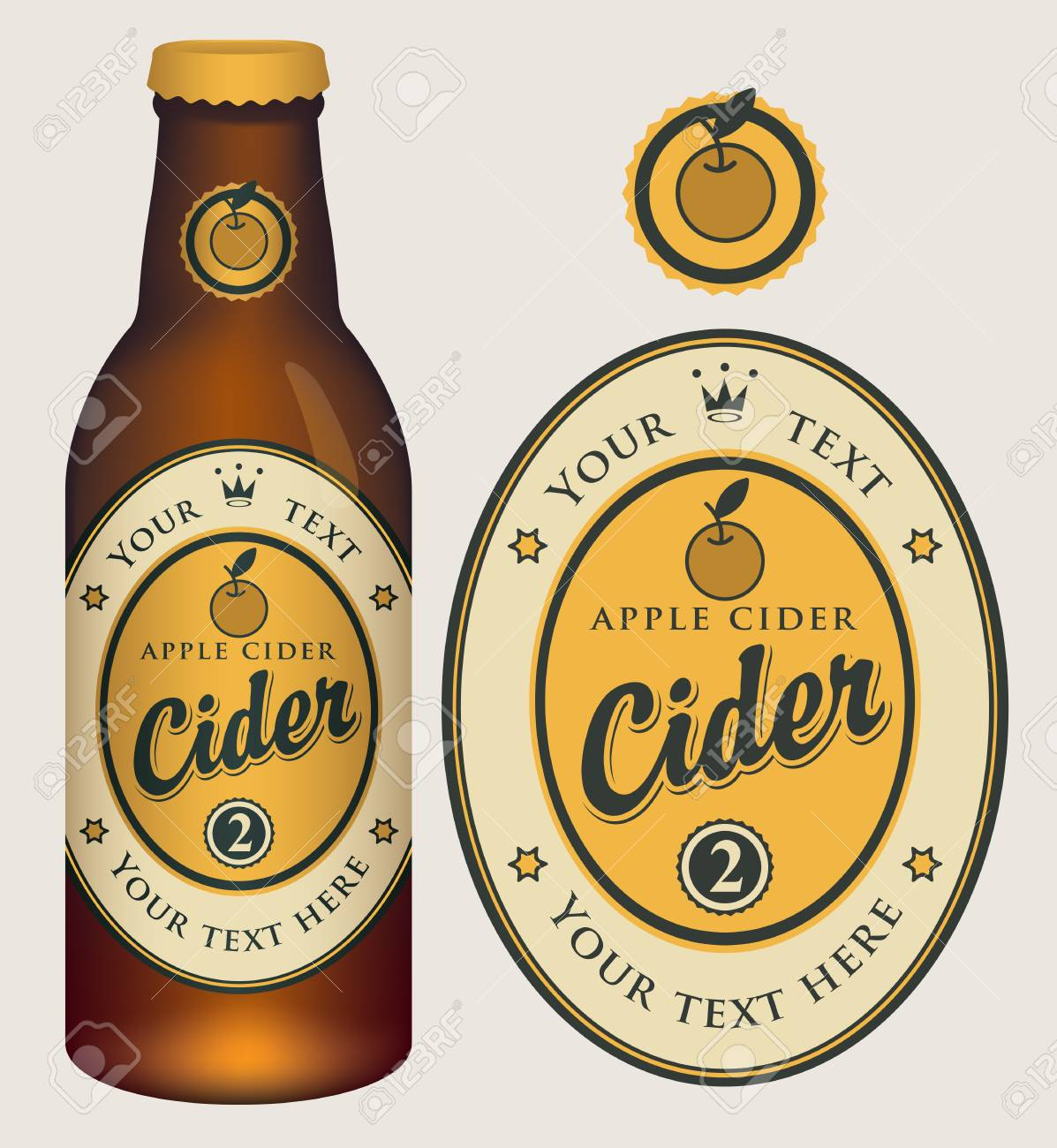 Vector Label For Apple Cider With Crown And Inscription In Oval