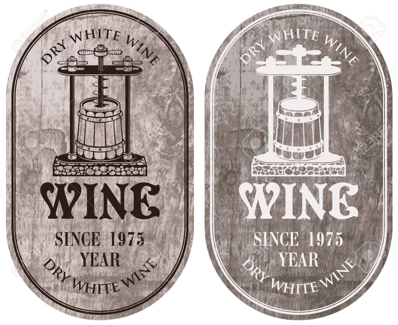 Vettoriale Set Di Etichette Vettoriali Per Il Vino Bianco Secco