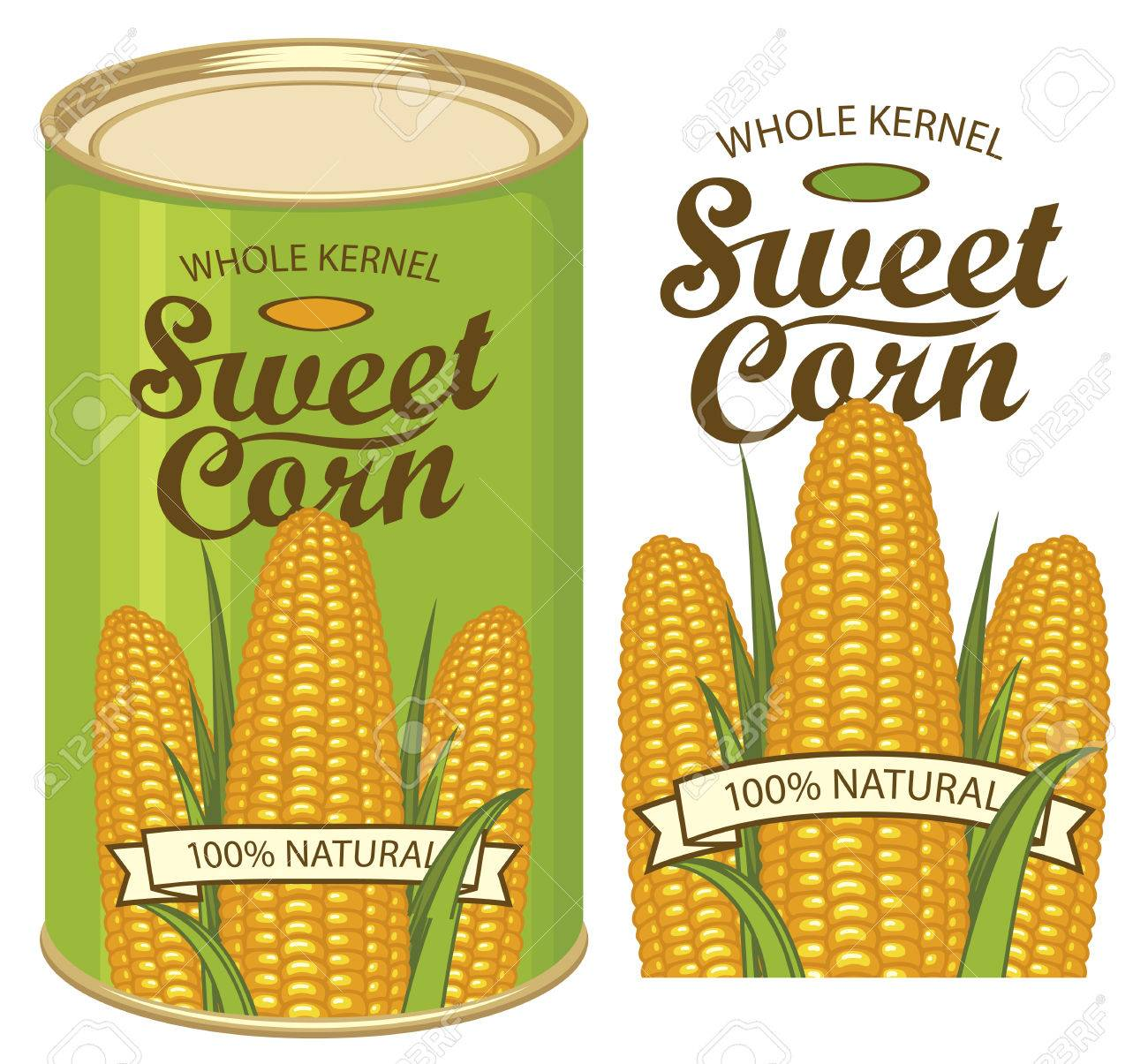 vector illustration of green tin can with a label for canned