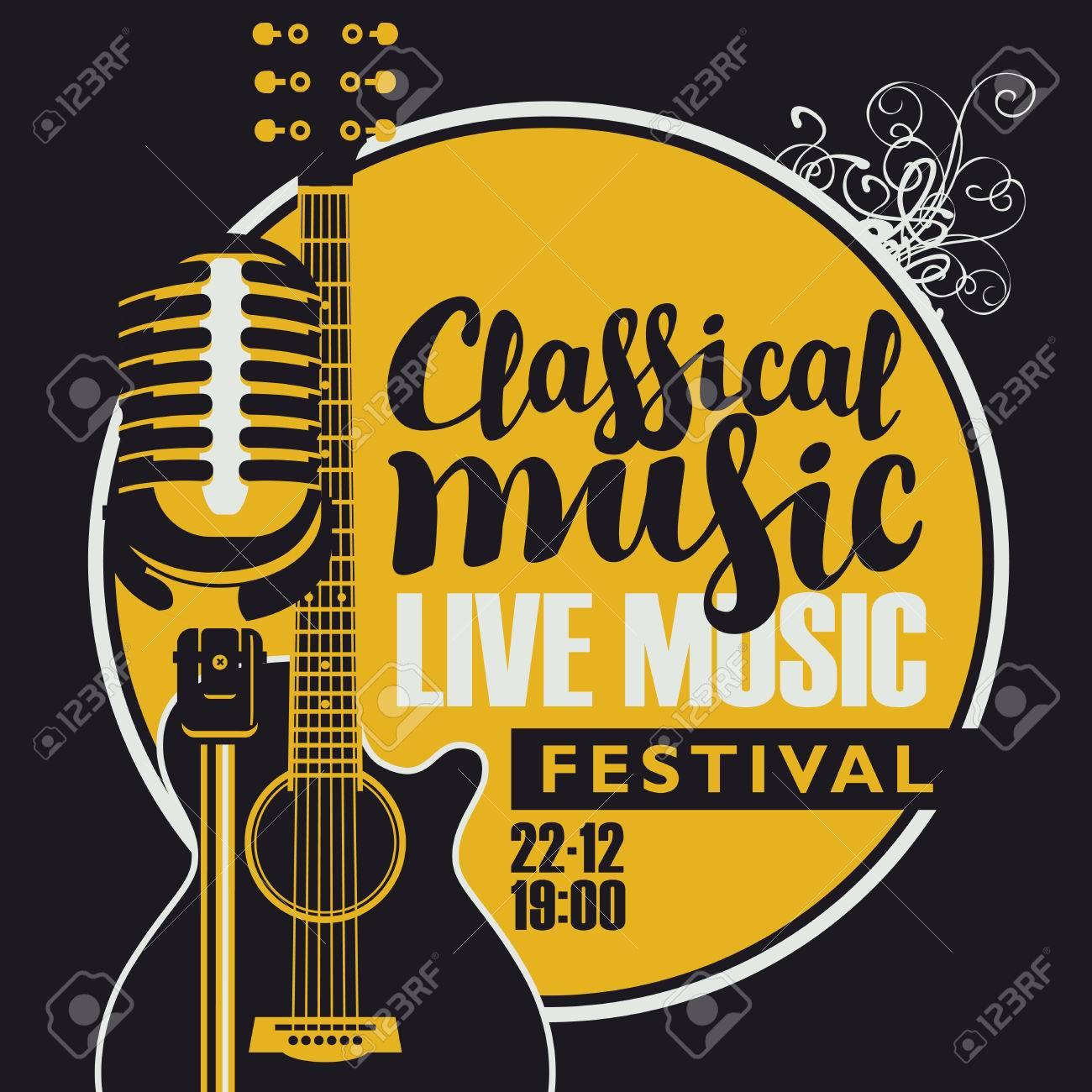Cartel De Vector Para Un Festival De Música En Vivo Con Un Micrófono ...