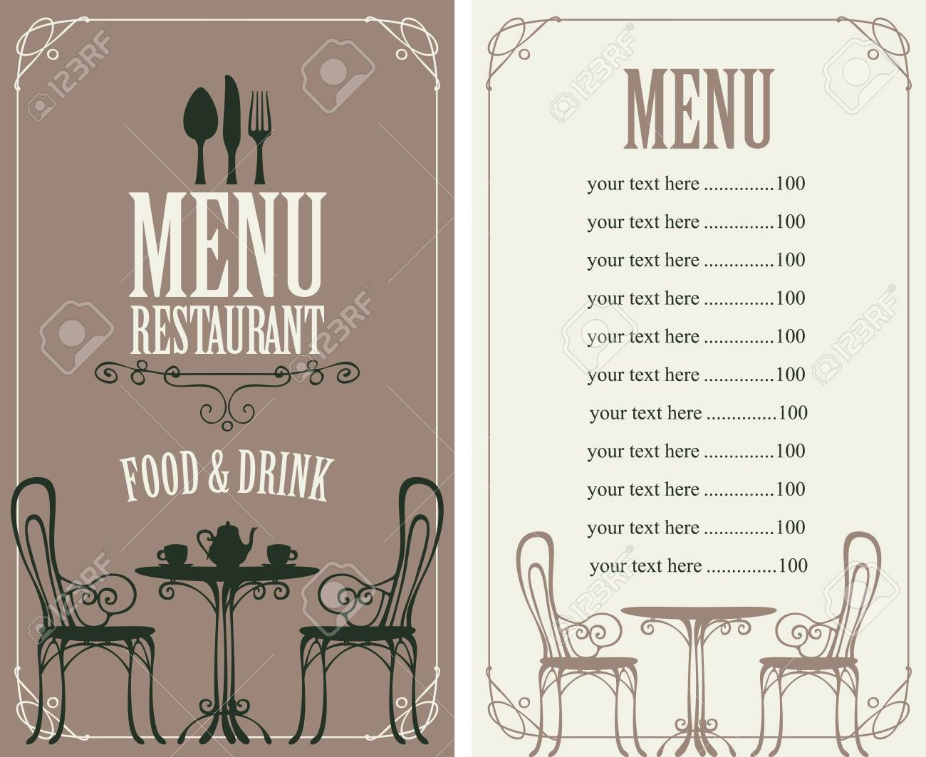 Vector Menu For Restaurant Or Cafe With A Price List Cutlery - Restaurant table price