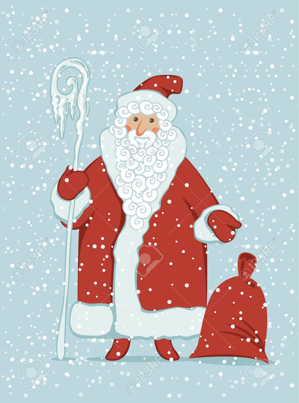 Winter Vector Illustration On The Theme Of Merry Christmas And