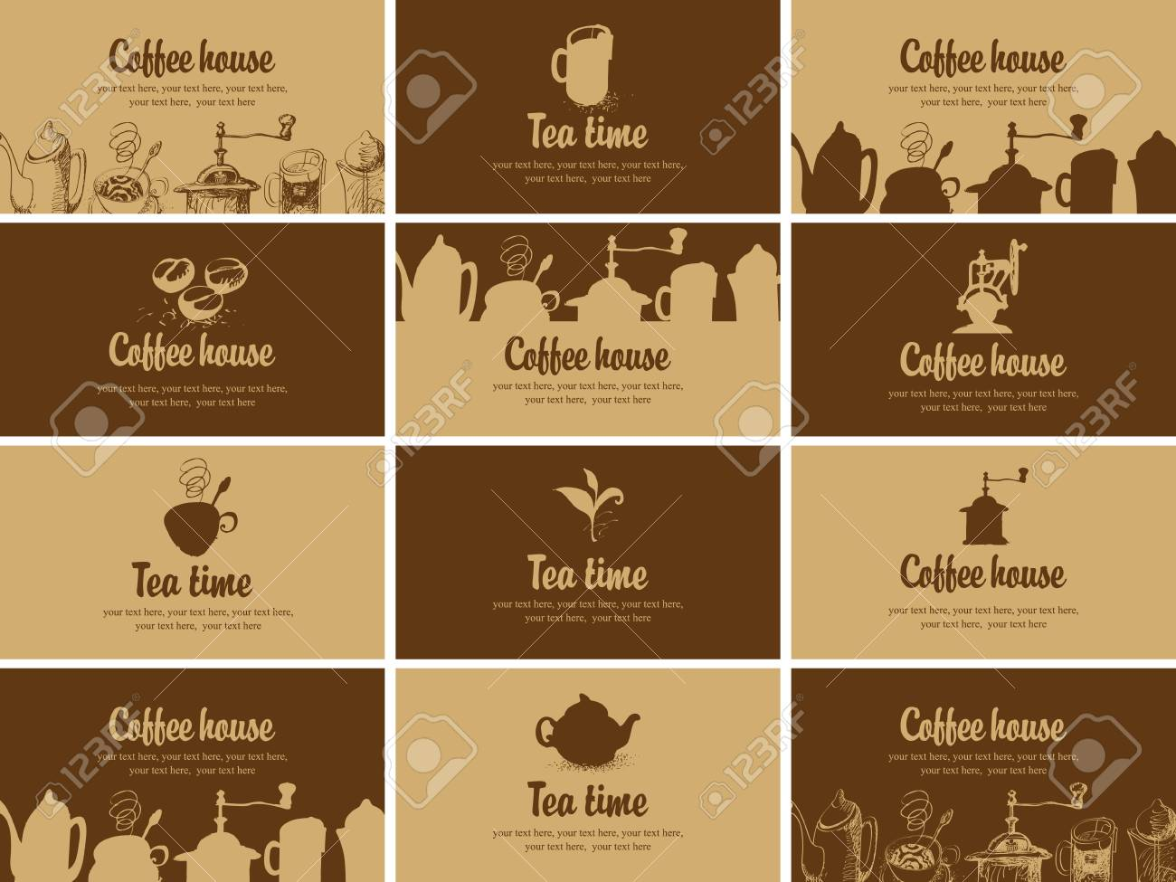 Set of business cards for restaurant cafe or coffee house with set of business cards for restaurant cafe or coffee house with design of tea and colourmoves