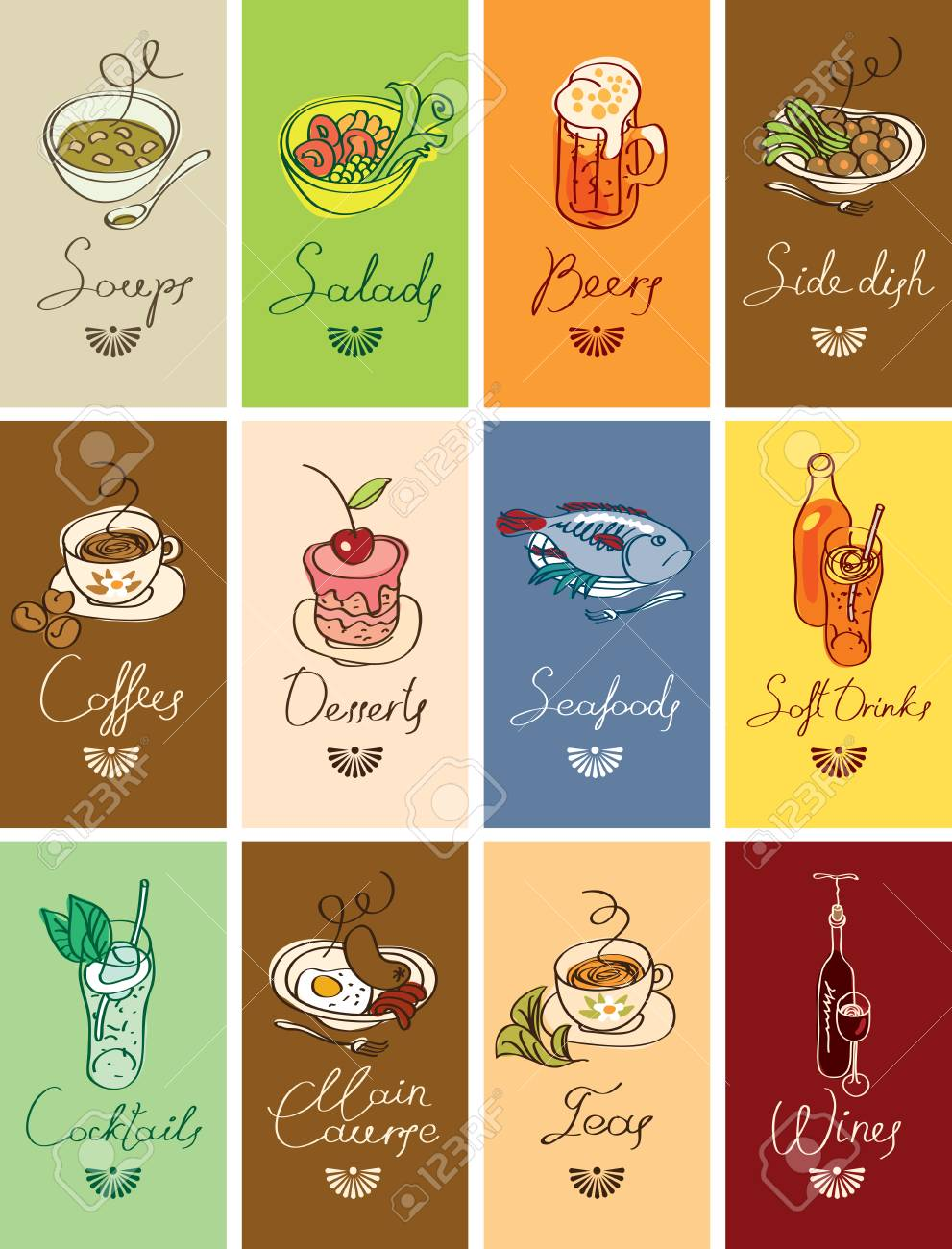 Vector Set Of Business Cards With Different Dishes And Handwritten ...