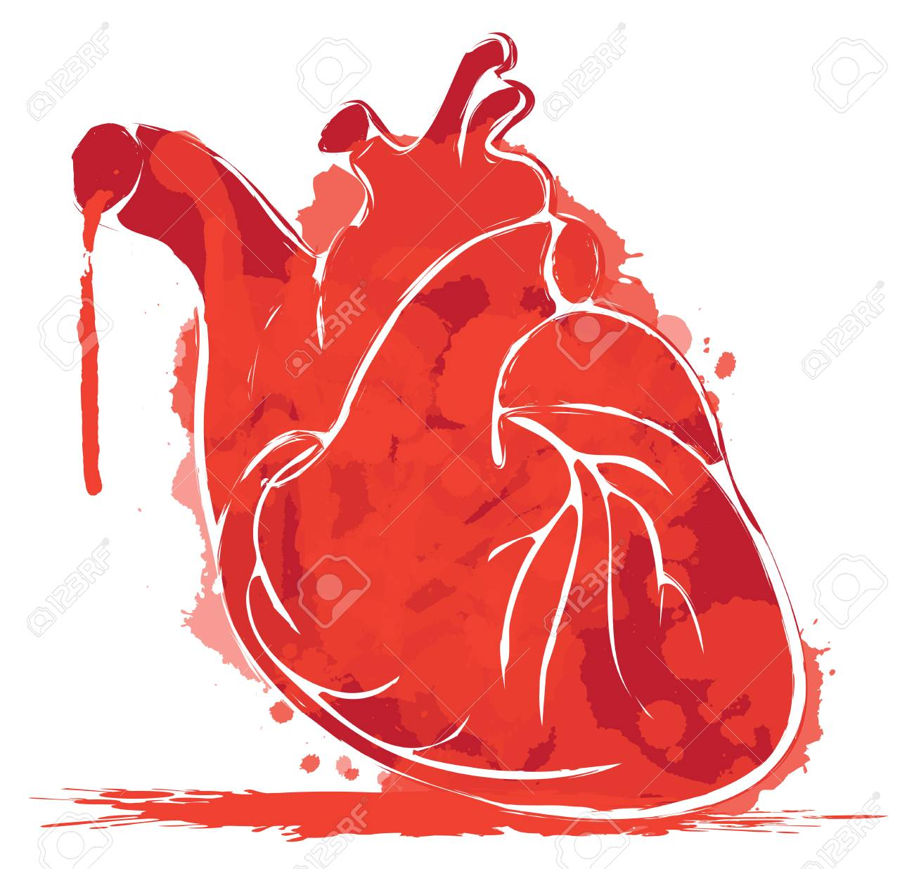 Vector Red Graphic Abstract Illustration Of Human Heart With