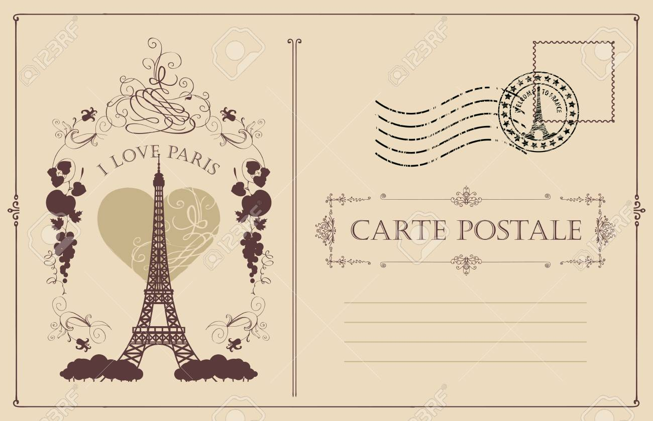 Retro postcard with the famous french Eiffel tower in Paris,