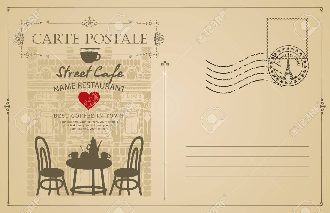 ce20117f1765 Retro postcard with French street cafe and old buildings. Romantic..
