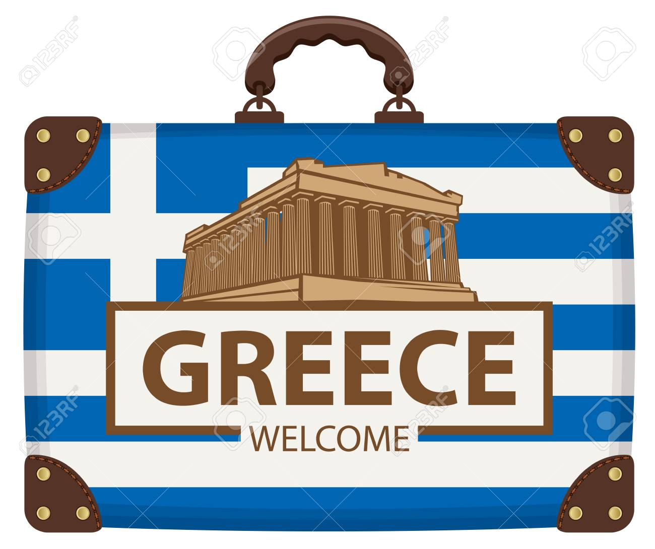 Vector travel banner with suitcase in colors of greek flag with the Acropolis and inscription Greece welcome - 104204885