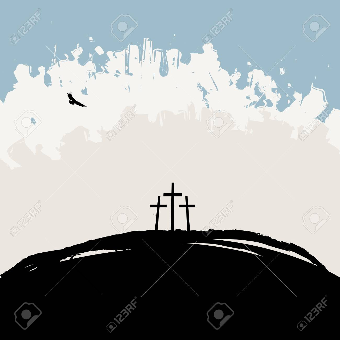 Vector illustration on Christian theme with three crosses on Mount Calvary on abstract grunge background - 106819679