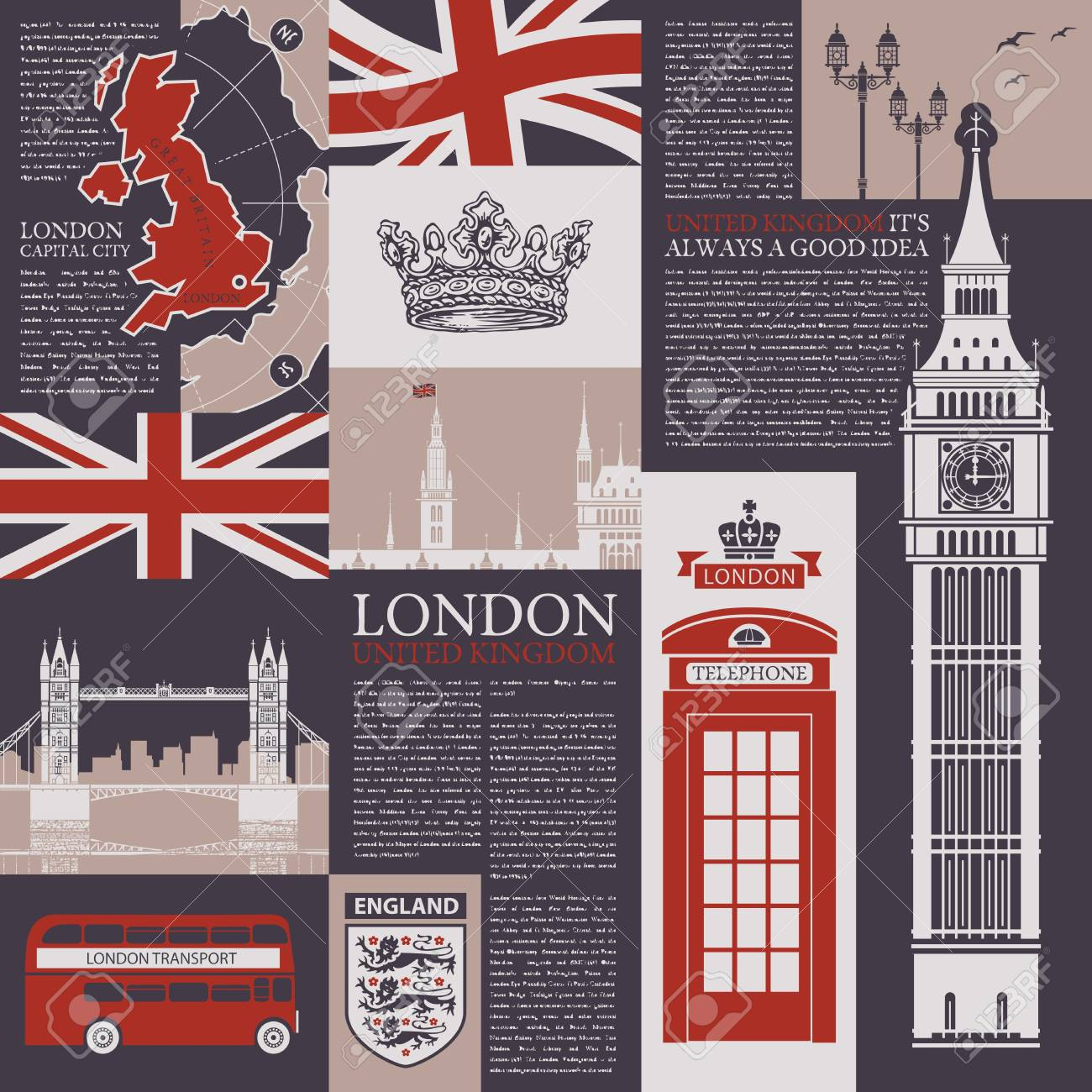 Vector Seamless Background On The Theme Of The Uk And London With Magazine Publications Architectural Landmarks British Symbols And Flag In Retro