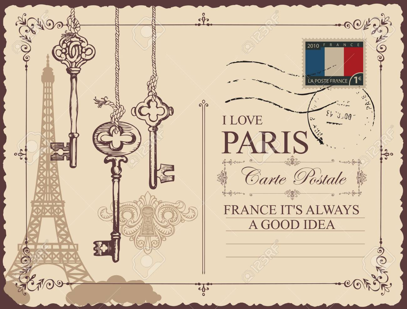Retro postcard with Eiffel tower in Paris, France  Vector postcard