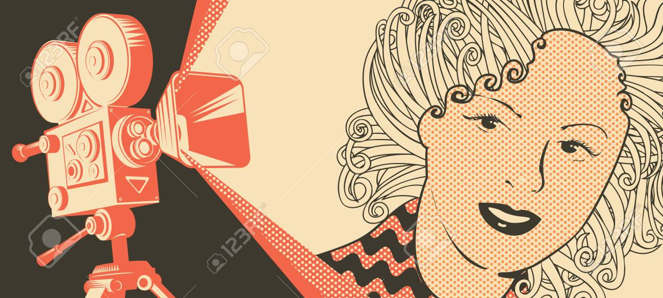 Vector banner on the theme of movie and cinema with old film projector and girl's face in retro style. Can be used for flyer, poster, ticket, web page, background - 112950546