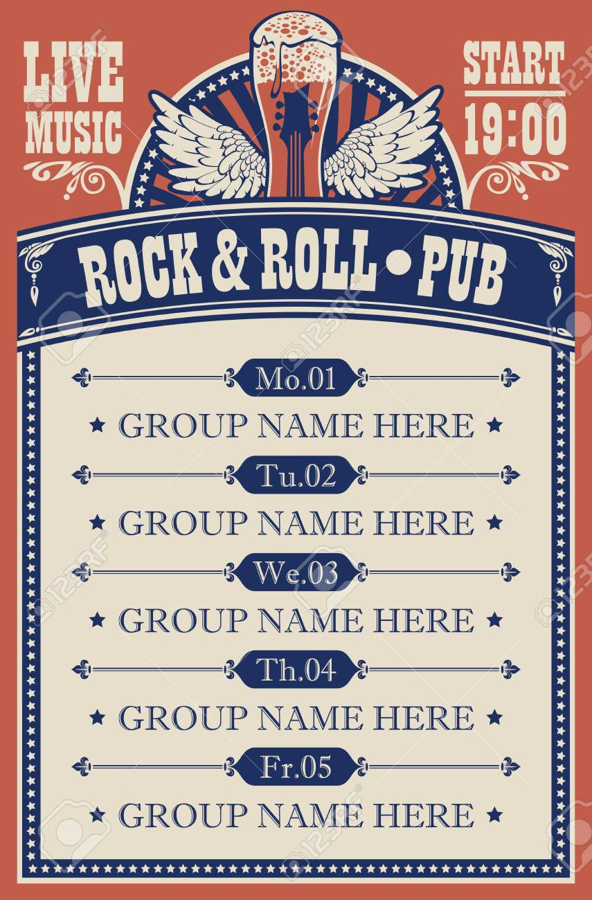 Poster for music rock and roll pub with live music with beer glass, guitar and wings. - 121082896