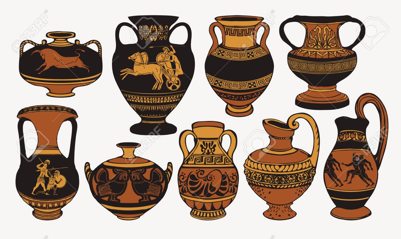 Set of antique Greek amphorae, vases with patterns, decorations and life scenes. - 121083849