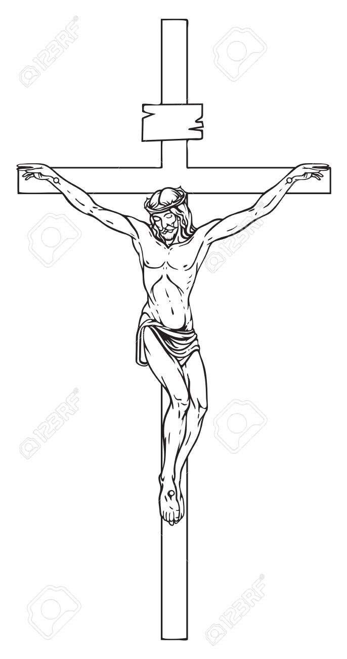 Vector illustration of religious symbol crucifix. Jesus Christ, the Son of God in a crown of thorns on his head, a symbol of Christianity. Cross with crucifixion, pencil drawing. - 129341448