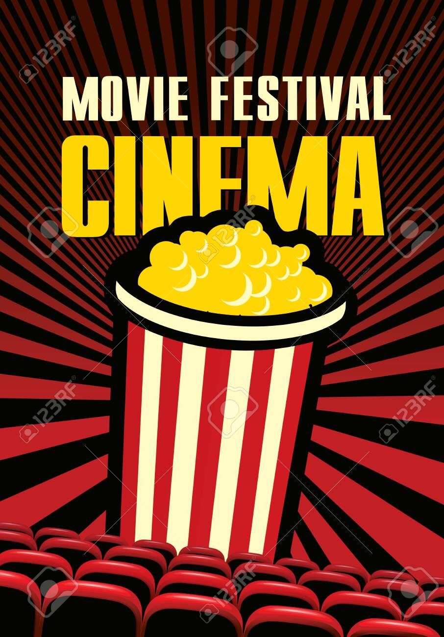Vector Movie Festival Poster With Popcorn Bucket On The Red Background Royalty Free Cliparts Vectors And Stock Illustration Image 141102395