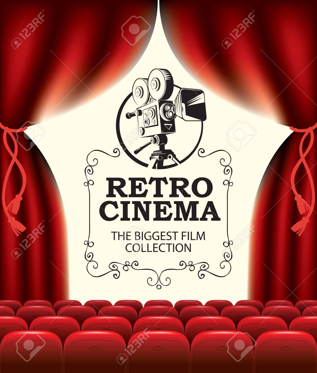 Vector Poster For Retro Cinema With An Old Movie Projector And Royalty Free Cliparts Vectors And Stock Illustration Image 141517207