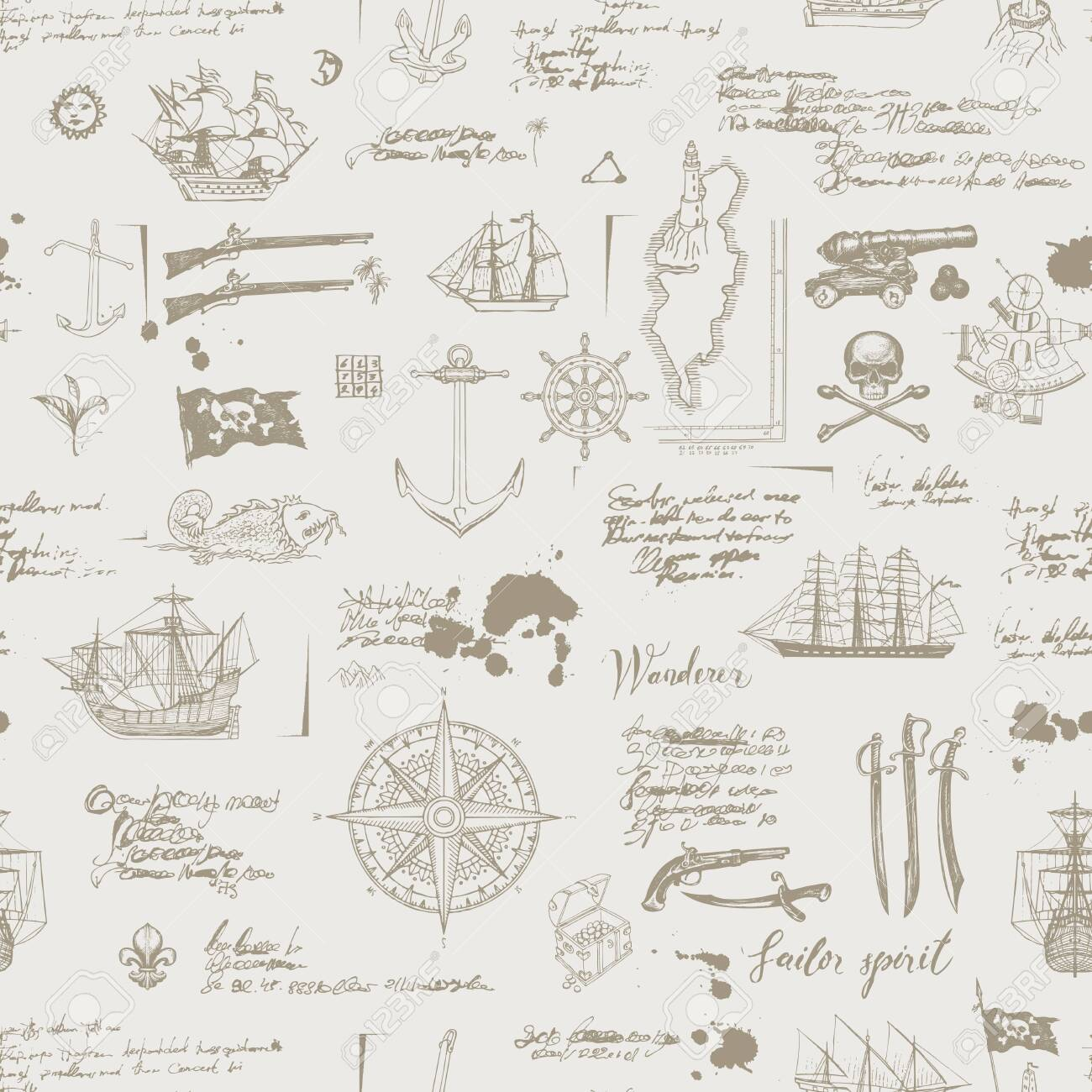Vector abstract seamless pattern on the theme of pirate adventures with sketches and illegible notes. Vintage background with skull, crossbones, flag, swords, guns, caravels and other nautical symbols - 142460571