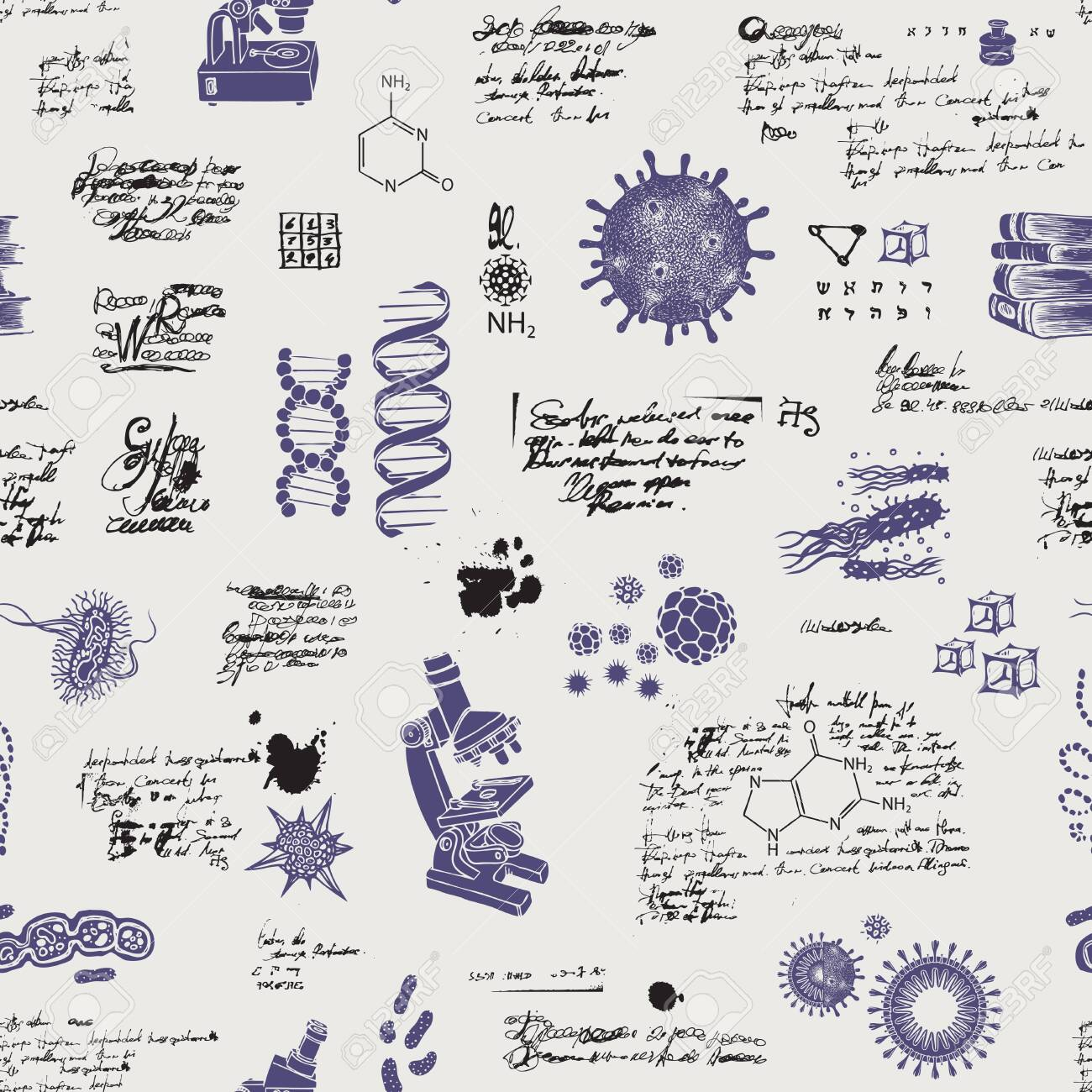 Vector seamless pattern on the theme of chemistry, Microbiology, medicine, genetics, laboratory research. Hand-drawn background with sketches, unreadable entries and illegible notes in retro style - 147031018