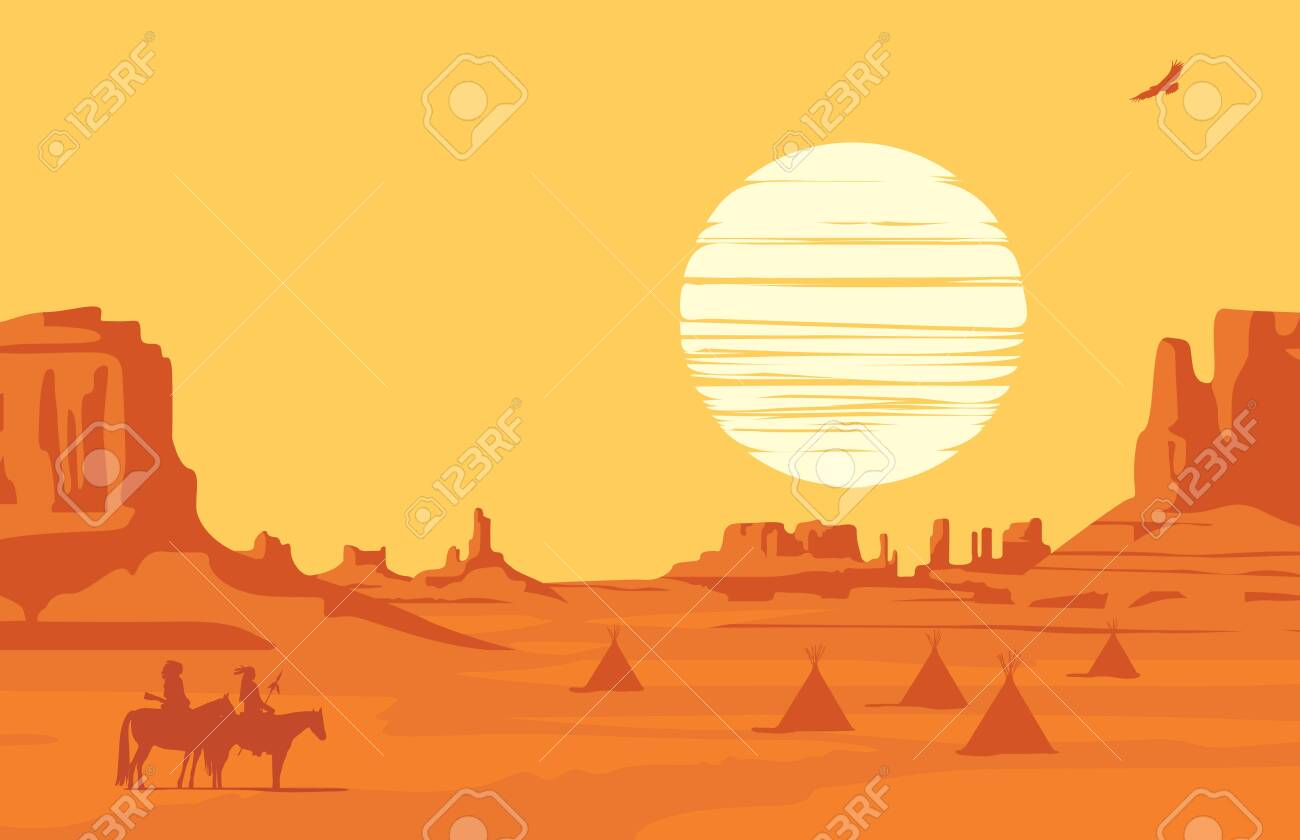 vector western landscape at orange sunset with silhouettes of.. royalty  free cliparts, vectors, and stock illustration. image 148969427.  123rf