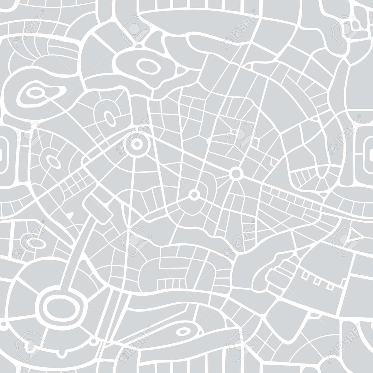 Seamless city map pattern. Vector repeating background with a schematic road map of an abstract city on a gray backdrop. Decorative urban texture, suitable for wallpaper design, wrapping paper, fabric - 169021320