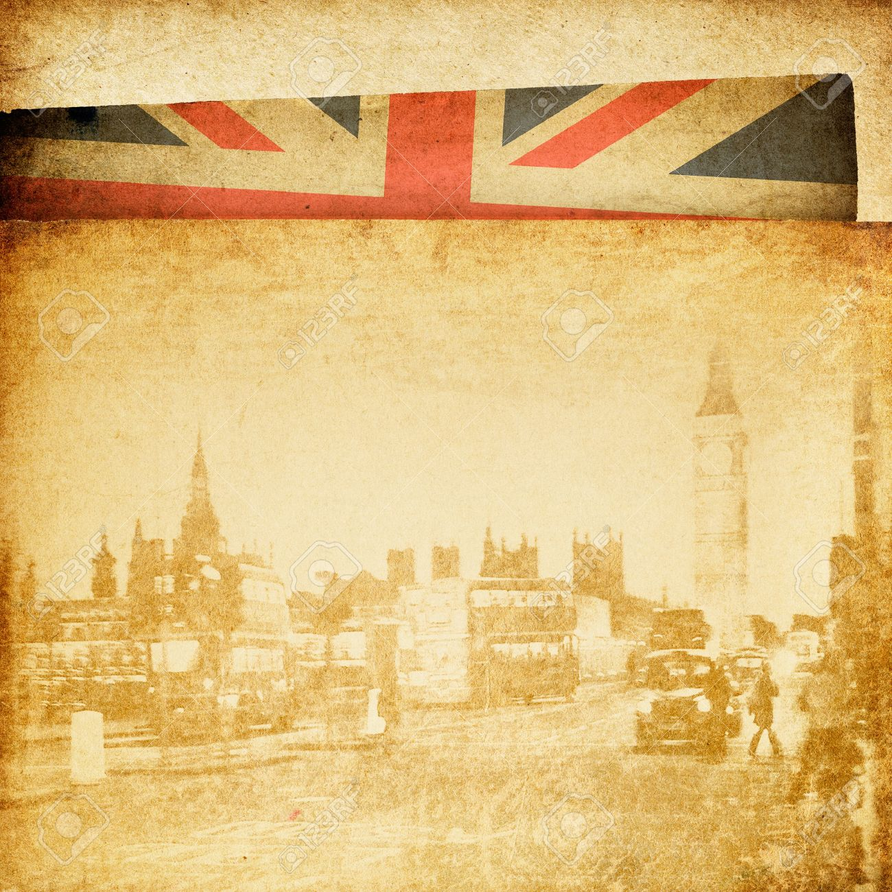 vintage london theme background buildings of parliament with