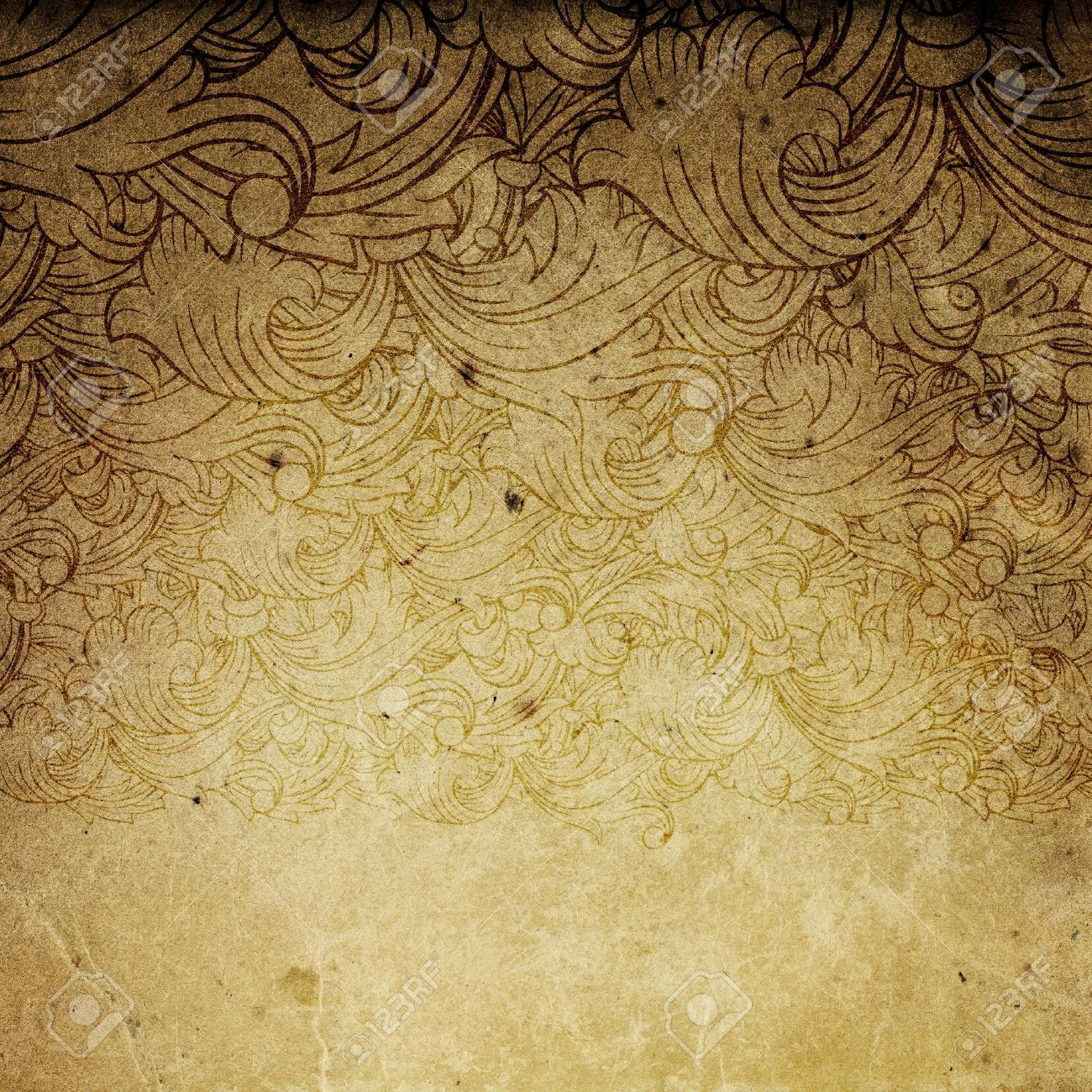 Aged vintage background with floral ornament elements. Stock Photo - 7283225
