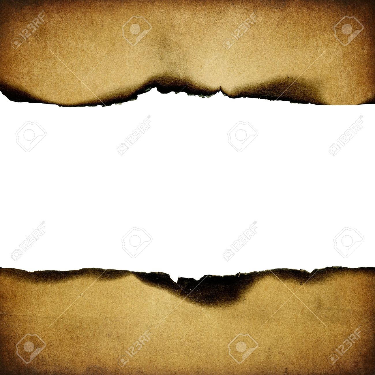 Vintage burned paper background, centerline isolated (space for text). Stock Photo - 7601784