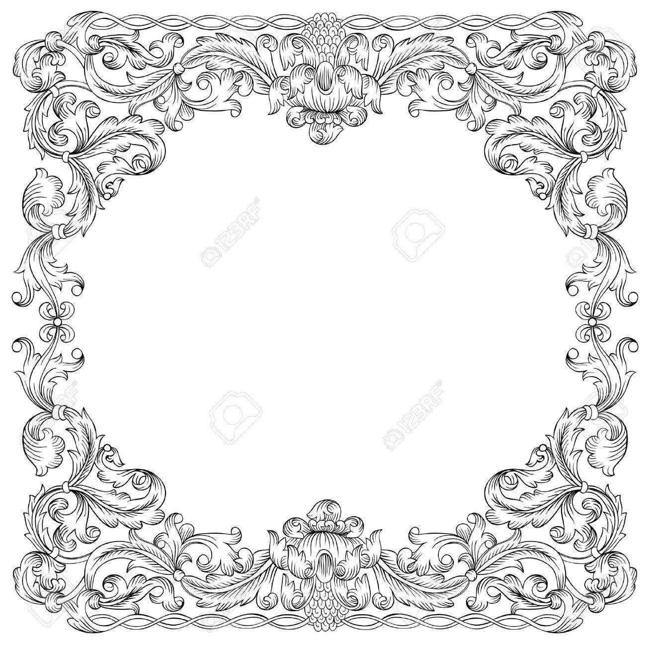 floral ornament frame simulates engraving based on the typography graphics beginning of the end