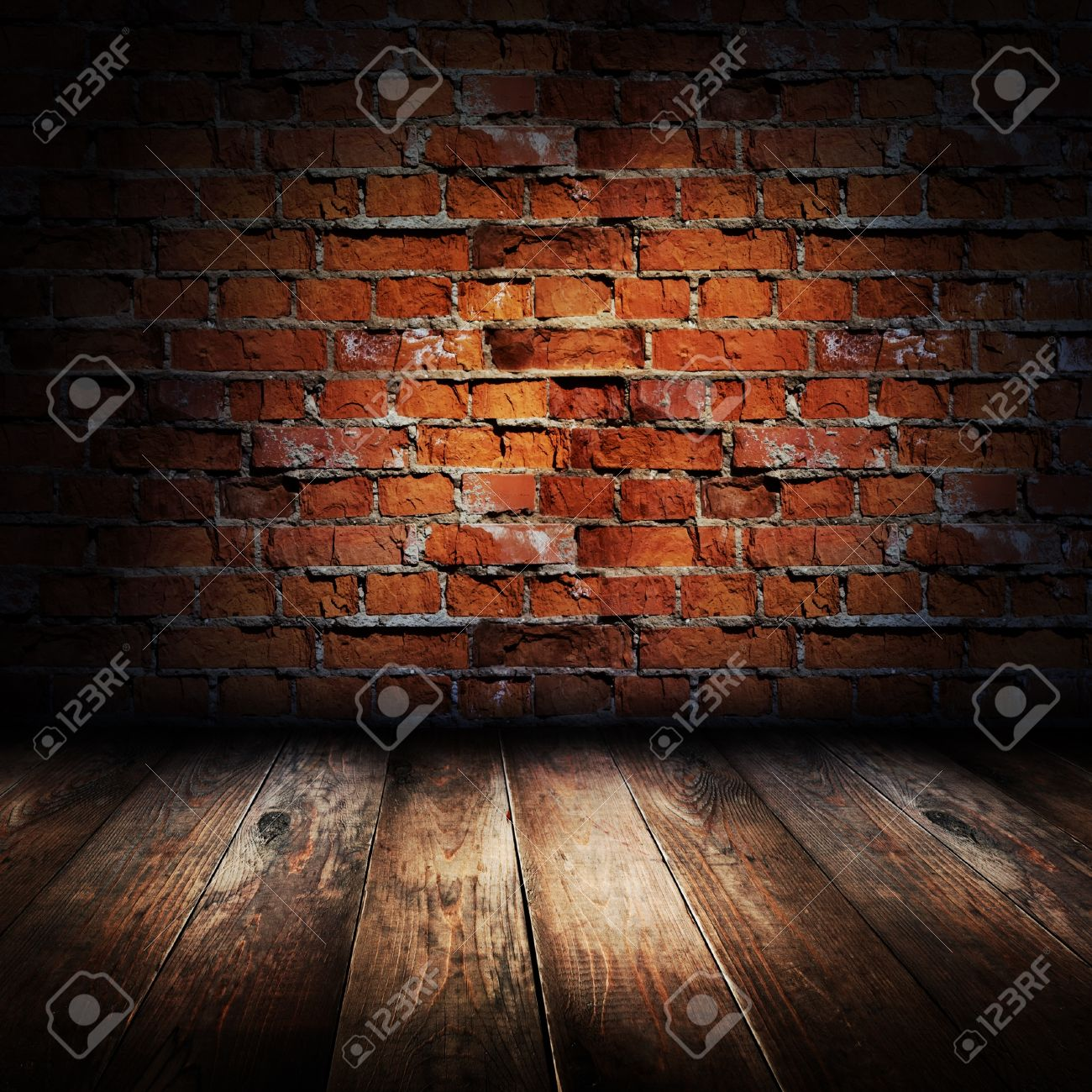 Interior of rural house. Brick wall and wooden floor scene. Stock Photo - 9390322