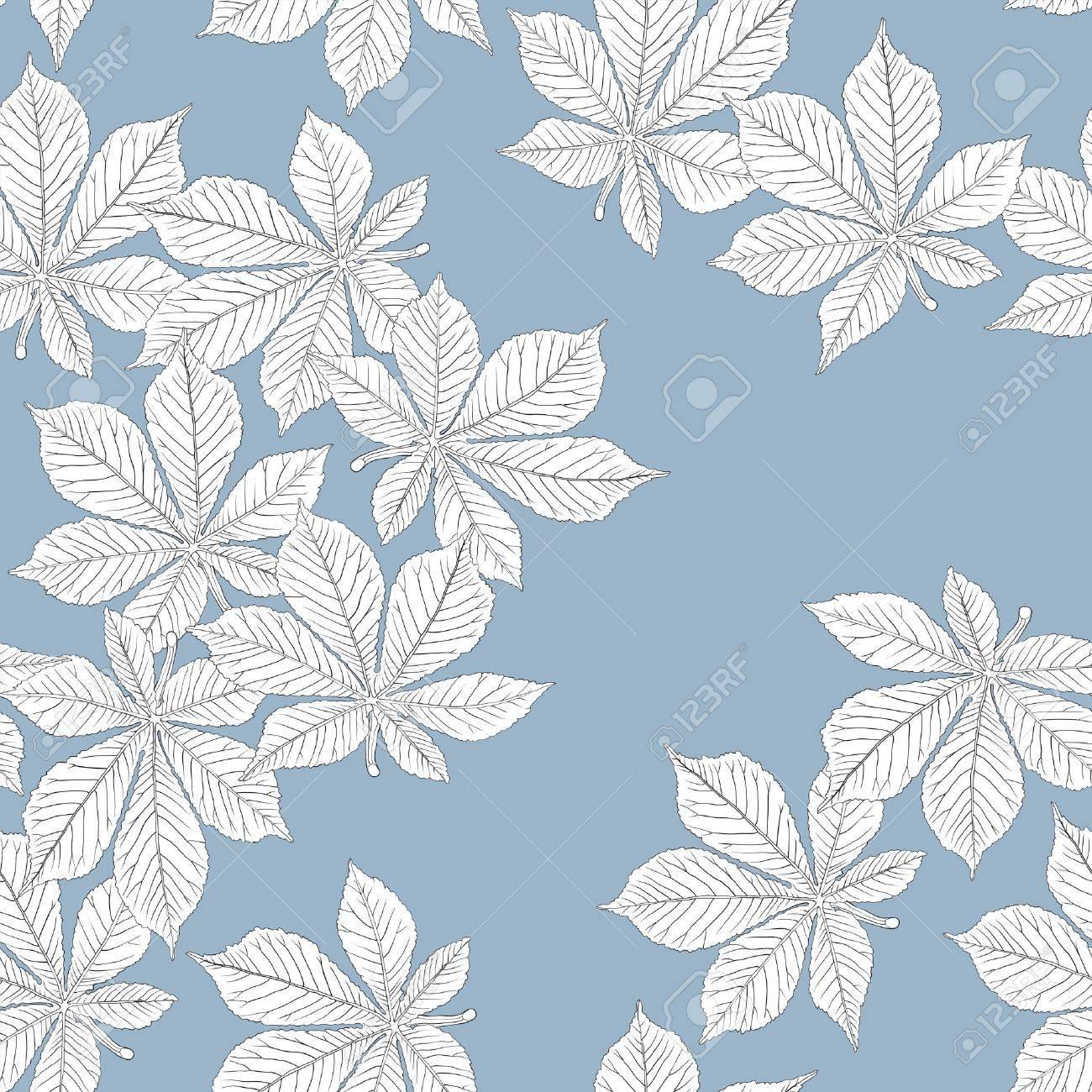 Chestnut leaves. Seamless pattern. Vector, eps8, easy editable. Stock Vector - 9928513