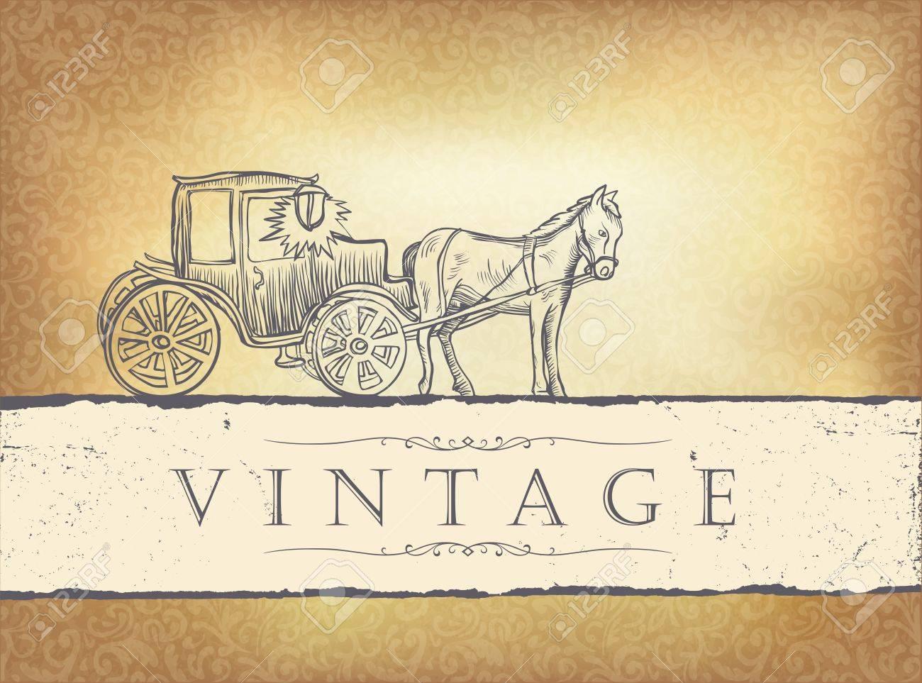 Golden vintage wedding invitation. Stock Vector - 12286081