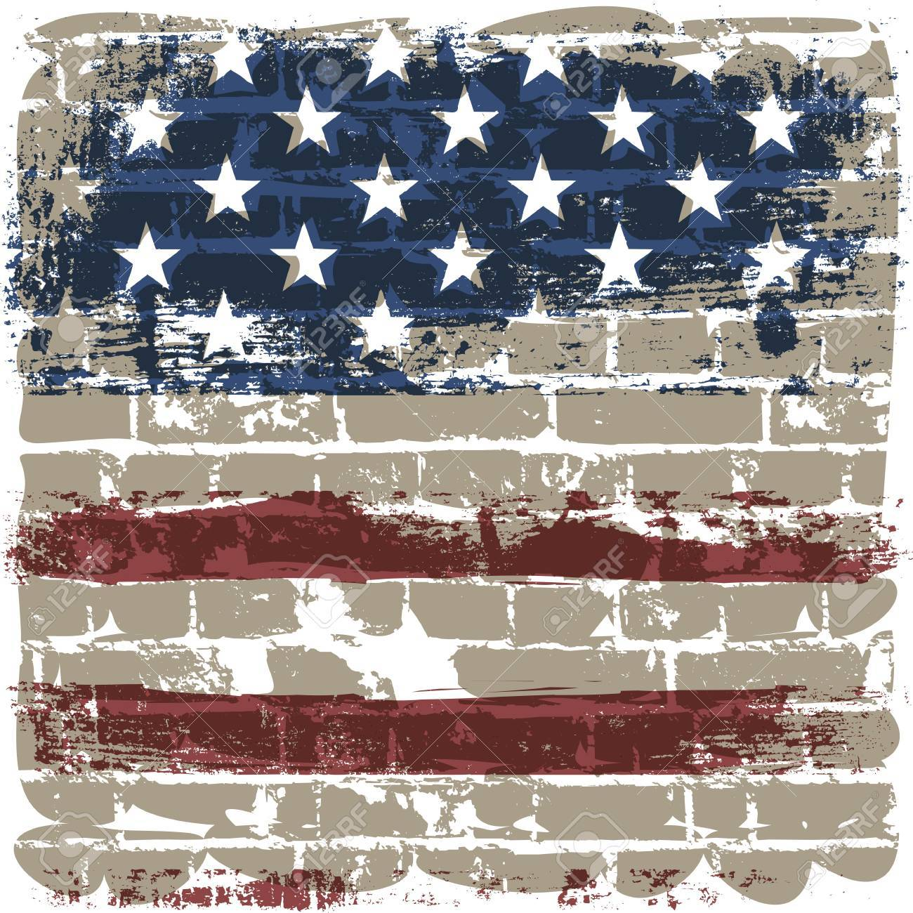 The American flag symbol against a brick wall. Stock Vector - 12286096