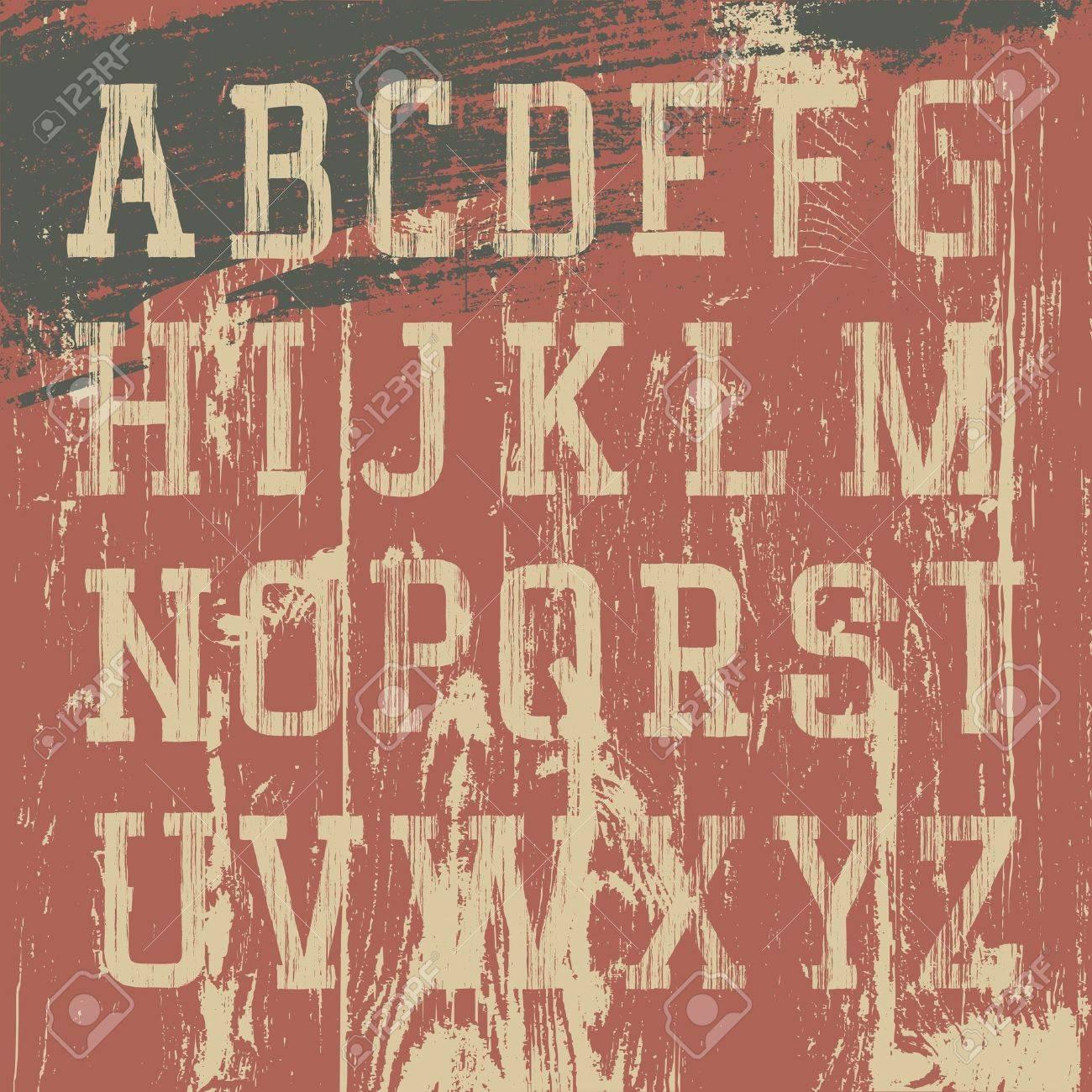 Vintage grunge western alphabet, vector set Stock Vector - 12496072