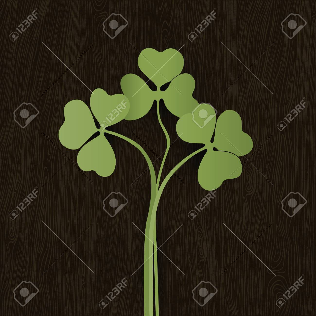 Clover leaves on wooden weathered texture. Vector, EPS10. Stock Vector - 14155330