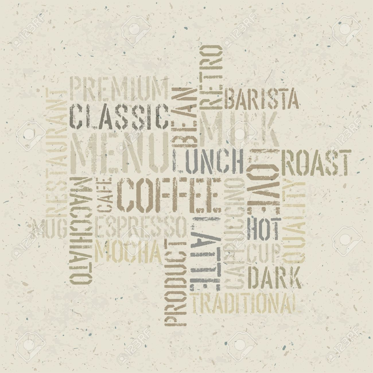 Coffee Themed Poster Design Template. Stock Photo, Picture And ...