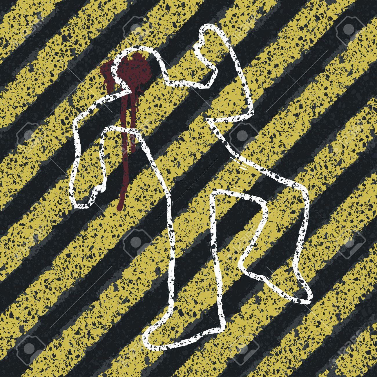 Murder Silhouette on yellow hazard lines. Accident prevention or crime scene concept illustration Stock Illustration - 14709662