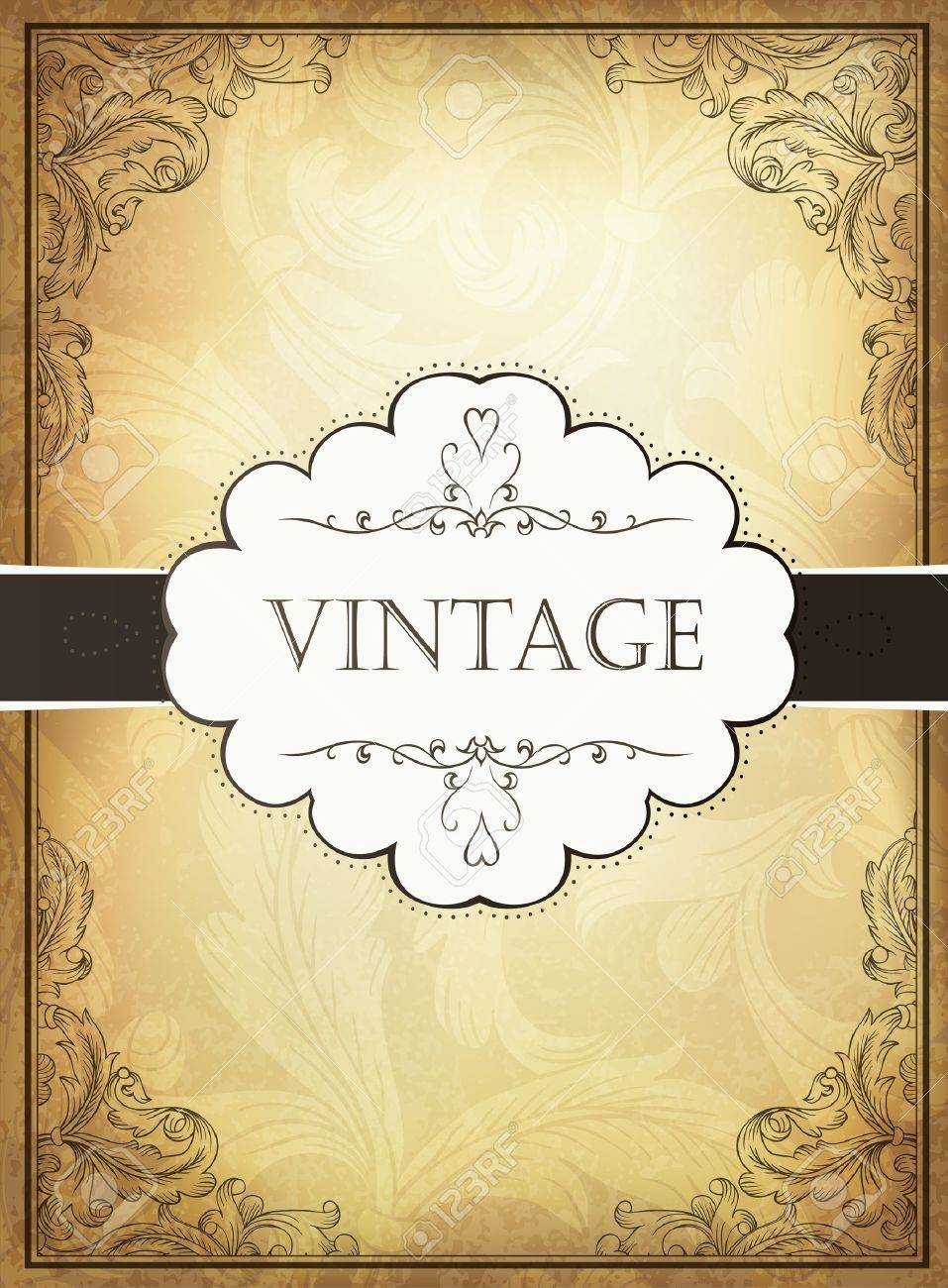 Vintage background with ornamental frame Stock Vector - 14889547