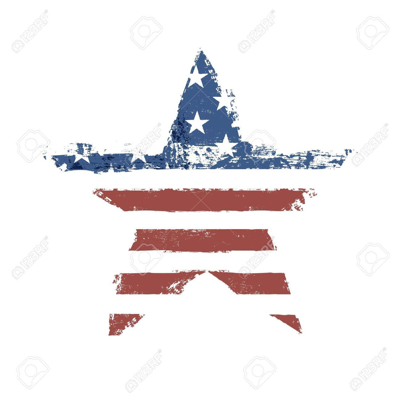 The American flag print as star shaped symbol. Stock Vector - 18216070
