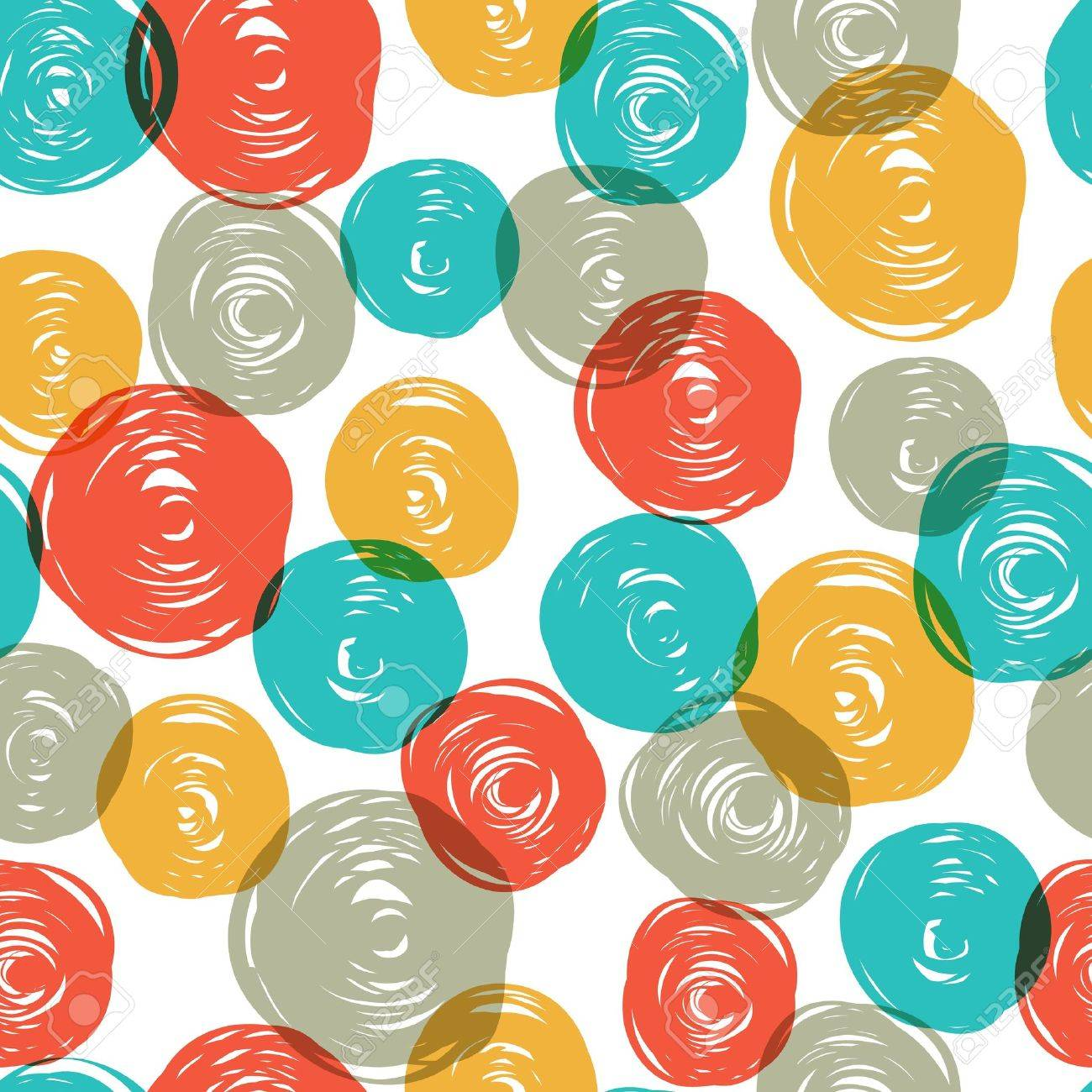 Abstract colorful retro seamless pattern (balls doodles). - 18216063