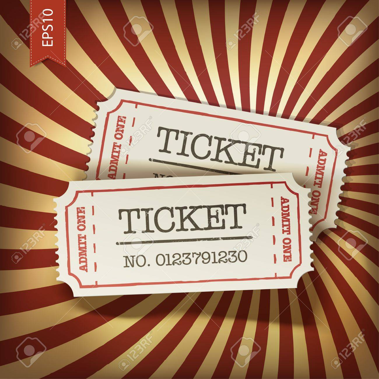 Cinema tickets on retro rays background, vector. - 18586278