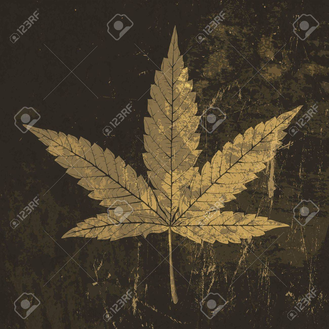 Cannabis leaf grunge icon. With stained texture Stock Vector - 19187487