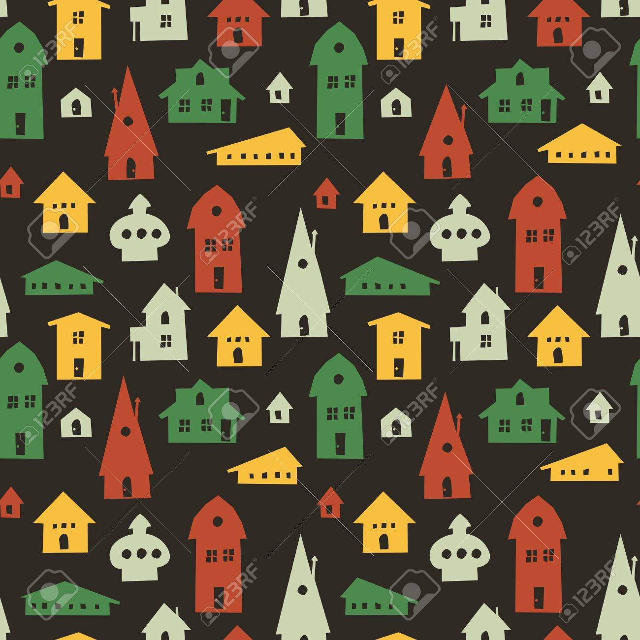 Different houses seamless pattern - 19185696