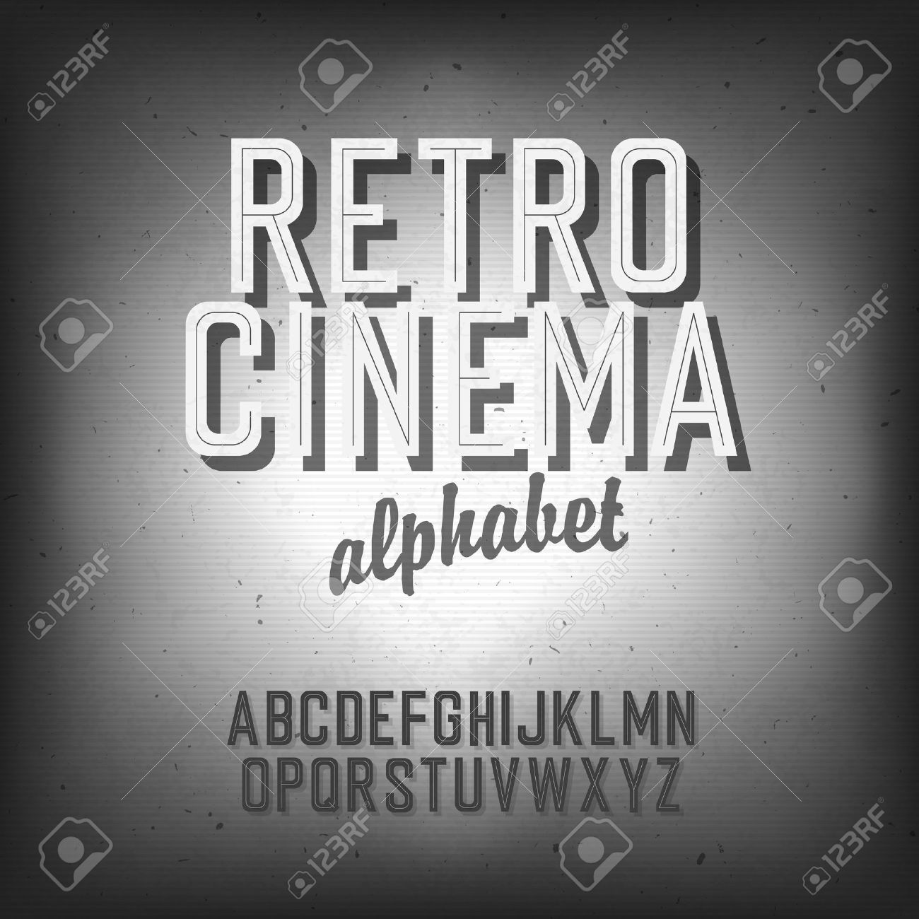 Old cinema styled alphabet. - 19187477